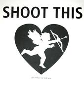 Sarine Voltage's t-shirt design promoting peace saying SHOOT THIS and showing Cupid with his bow and arrow, black on white