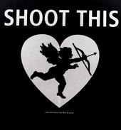 Sarine Voltage's t-shirt design promoting peace saying SHOOT THIS and showing Cupid with his bow and arrow, white on black