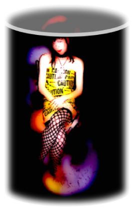 Sarine Voltage adorned in one of her originals (DRESS WITH CAUTION) which is yellow plastic with black print and black fishnet stockings, this photo is called CAUTION IN A JAR as she appears to be sitting in a jar