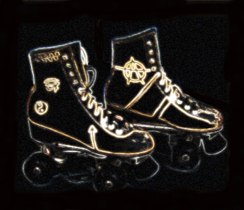 roller skates belonging to and stylized by Sarine Voltage with painted symbols including yin-yang, the Eye of Horus and anarchy