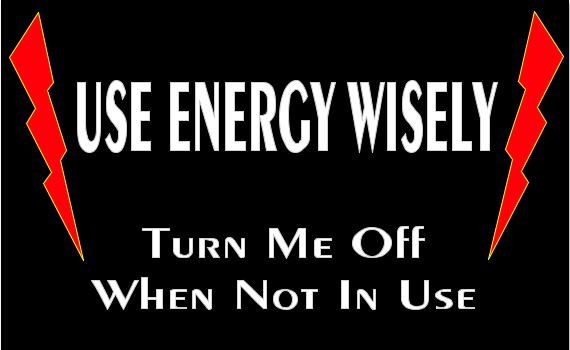t-shirt design saying USE ENERGY WISELY, TURN ME OFF WHEN NOT IN USE (white lettering on black with orangeish-red bolts of energy on either side